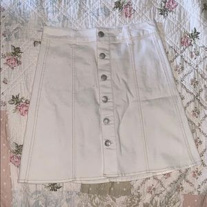 White Short Button Down Pencil Skirt